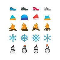 conjunto de imágenes prediseñadas de invierno vector