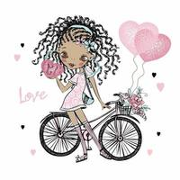 Cute fashionista dark-skinned teen girl with pigtails with a Bicycle and balloons hearts. Valentine card. Vector. vector