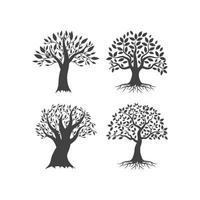 conjunto de ilustración de árbol vector