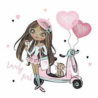 A cute dark-skinned teen girl in a pink beret stands next to her scooter with heart balloons. Valentine's day cards. Vector. vector