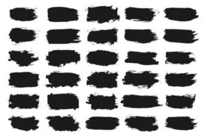 Black hand painted grunge brush strokes collection vector