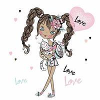 linda adolescente fashionista con su gatito y un globo en forma de corazón. tarjeta de san valentin. vector. vector