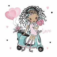 Cute dark-skinned teen girl with dreadlocks stands near her scooter with balloons hearts. Valentine's card. Vector. vector