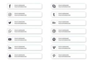 Social media lower thirds in white ui buttons style vector