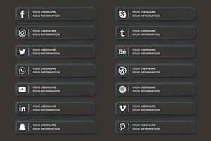 Social media lower thirds in dark ui buttons style vector