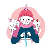 Happy birthday, woman, dog, cat and present. Hand draw cartoon cute vector.