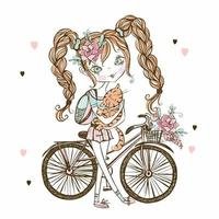 Cute fashionista teen girl with cat, Bicycle . My life. Vector. vector