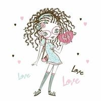 Cute fashionista teen girl with pigtails with a heart in her hands. Valentine card. Vector. vector