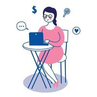 Business working woman and laptop on table vector.