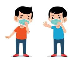 Cute kids wearing face mask protection vector