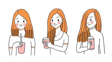 Lovely woman drinks coffee, hand draw cartoon cute vector.