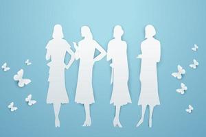 Banner for the international Women's Day. Vector illustration paper art style