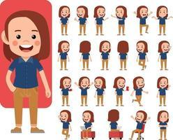 Businessman working character design set. Business vector illustration design