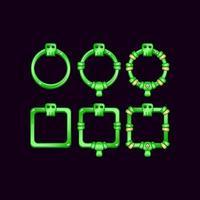 set of game ui border frame with skull symbol for gui asset elements vector
