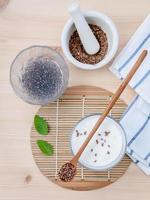 Flax seeds and yogurt photo