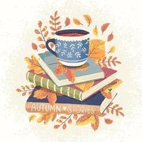 libros de otoño y café vector