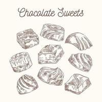 conjunto vintage de dulces de chocolate vector