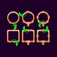set of game ui wooden leaves border frame vector illustration