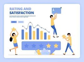 Clients give five star rank. Good review and feedback. Characters use mobile apps. People giving star feedback. Clients choosing satisfaction rating and positive review. Landing page, website, poster vector