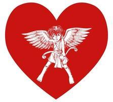 Sketch illustration of a cupid on heart symbol vector