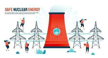 Vector illustration for safe nuclear energy and green modern power resource. Designed for landing page, banner, website, web, poster, mobile apps, homepage, social media, flyer, brochure, ui ux