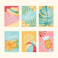 juego de tarjetas de verano vector
