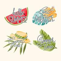 Sumer hand lettering icon vector