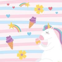 Cute cartoon magical unicorn eating a cupcake vector