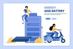 las personas acceden a la energía verde de las baterías de células solares. mujer monta en moto con energía eléctrica verde. diseñado para página de destino, banner, sitio web, web, póster, aplicaciones móviles, página de inicio, volante, folleto vector
