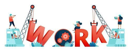 Illustration of work letters built by construction workers teamwork and excavator. Designed for landing page, banner, website, web, poster, mobile apps, homepage, social media, flyer, brochure, ui ux vector