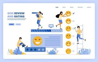 People give feedback survey, ratings and reviews in the comments column by ticking emoticons for satisfaction. Can be used for landing page template ui ux web mobile app poster banner website flyer ads vector