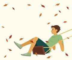 niño balanceándose y hojas secas flotando en el viento vector