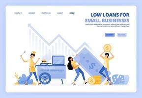 Low interest loans for startups, street vendors, small businesses. Debt funding help develop small companies. Can be used for landing page template ui ux web mobile app poster banner website flyer ads vector