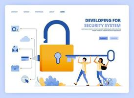 People hold security key to open padlock and get access to hack privacy, activities and history of user data. Can be used for landing page template ui ux web mobile app poster banner website flyer ads