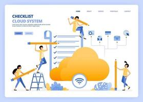 Perform checks on wifi and cloud internet access. Check results of satisfaction survey on hosting service. Can be used for landing page template ui ux web mobile app poster banner website flyer ads vector