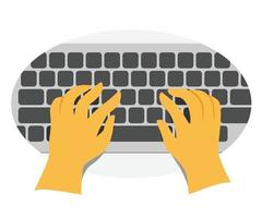 Human Hands Type the Keyboard