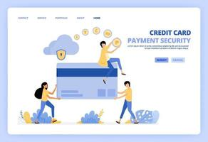 People holding giant plastic credit cards. Make transactions, purchases, transfer safely on cloud network. Can be usde for landing page template ui ux web mobile app poster banner website flyer ads vector