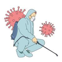 Coronavirus, fighting, infection, protection concept. Man in virus protective suit and mask disinfecting buildings of coronavirus with sprayer. Flat vector illustration