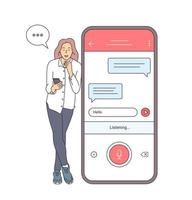 Voice recognition, speech recognition concept. Girl holding smartphone talk with friend on loud speaker having pleasant conversation vector