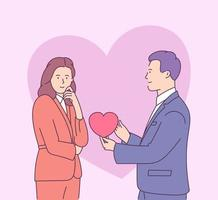 Valentines day vector illustration with young couple in love. Young man gives heart-shaped card to smiling woman.
