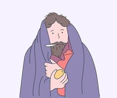 salud, cuidado, enfermedad, resfriado, concepto de medicina. Hombre enfermo en ropa de abrigo con termómetro y sosteniendo limón vector