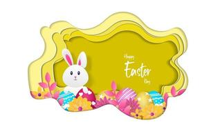 happy easter greeting card, vector illustration with paper cut style.