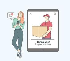 Online payment, technology, shopping, mobile phone concept. Smiling woman with smartphone shopping with contactless electronic paying wireless technology. Flat vector illustration