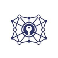 Encryption, cryptography vector line icon on white.eps