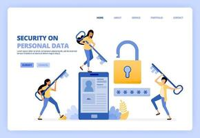 Maintain personal data security on mobile apps services. Developing protection technology, password, systems. Can be used for landing page template ui ux web mobile app poster banner website flyer ads vector