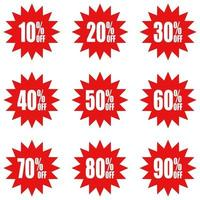 Simple icon of red discount stickers vector