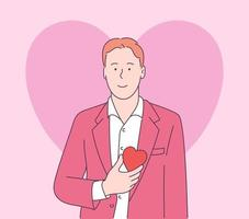 Love story or Valentines day concept. Handsome funny happy man in jacket and white shirt holding red big heart shape. Modern line style illustration vector