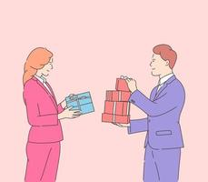 Love, dating, romance, relationship, togetherness, couple concept. Happy attractive woman and smiling man holding gifts on Valentine's Day. Flat vector illustration