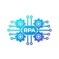 RPA vector icon with gears, robotic process automation.eps
