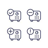 deposit, strongbox with checkmark, add symbol line vector icons.eps